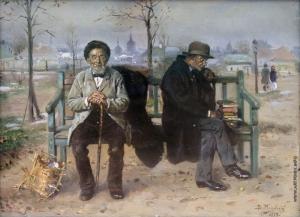 """""""An Optimist & Pessimist"""" by Vladimir Makovsky (1846-1920) - Russian painter"""